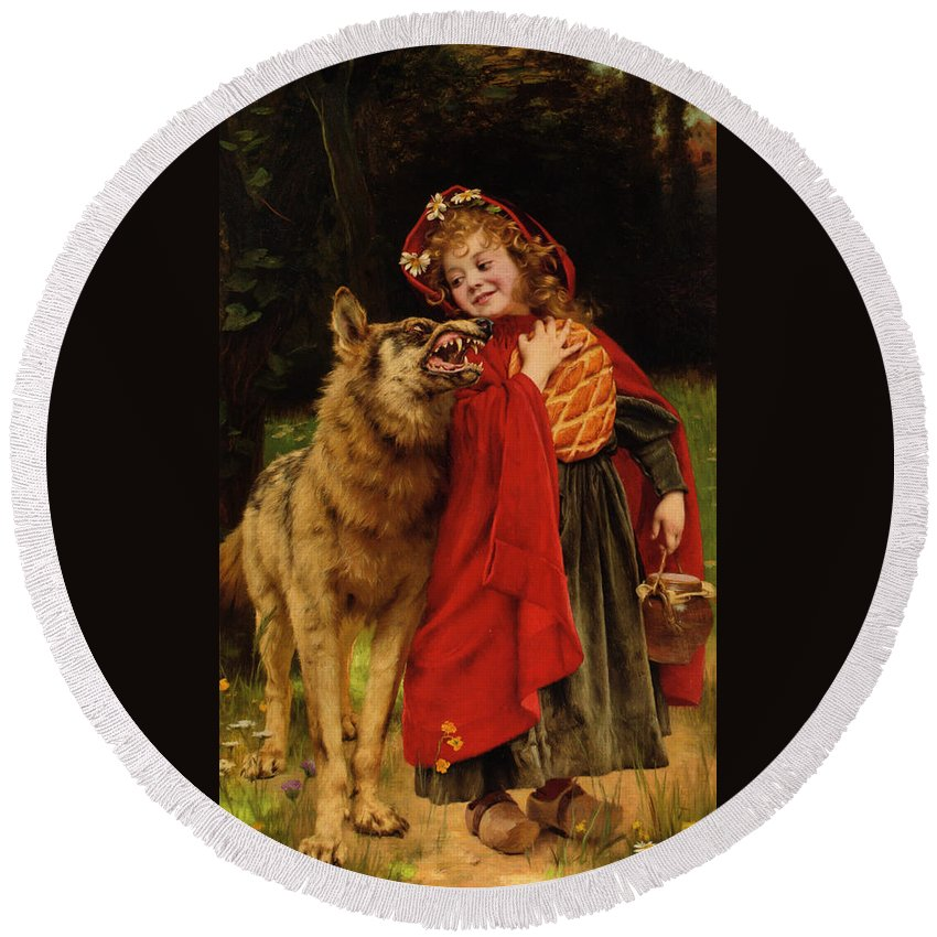 Gabriel Joseph Marie Augustin Ferrier Round Beach Towel featuring the digital art Little Red Riding Hood by Gabriel Joseph Marie Augustin Ferrier