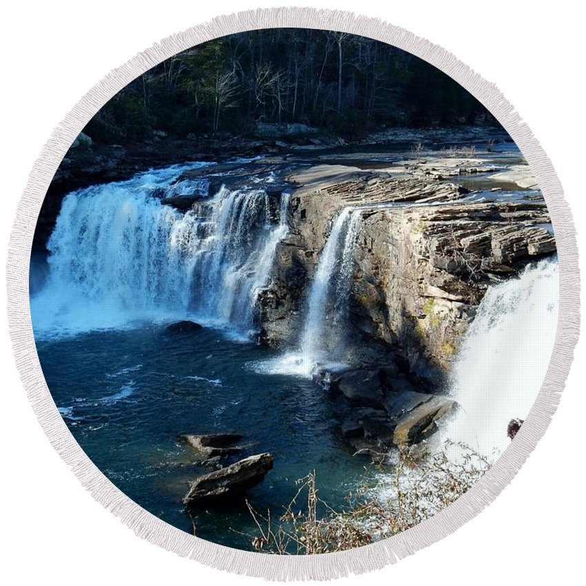 Waterfalls Round Beach Towel featuring the photograph Little River Falls by Kathy R Thomas