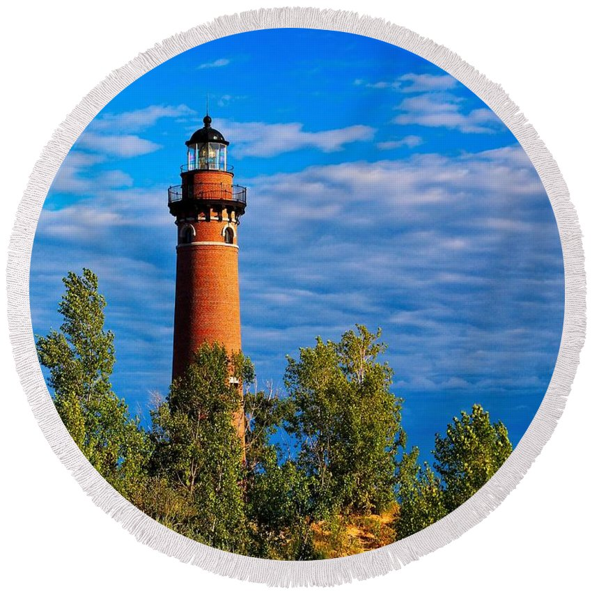 Lighthouse Round Beach Towel featuring the photograph Little Sable From A Hill by Nick Zelinsky