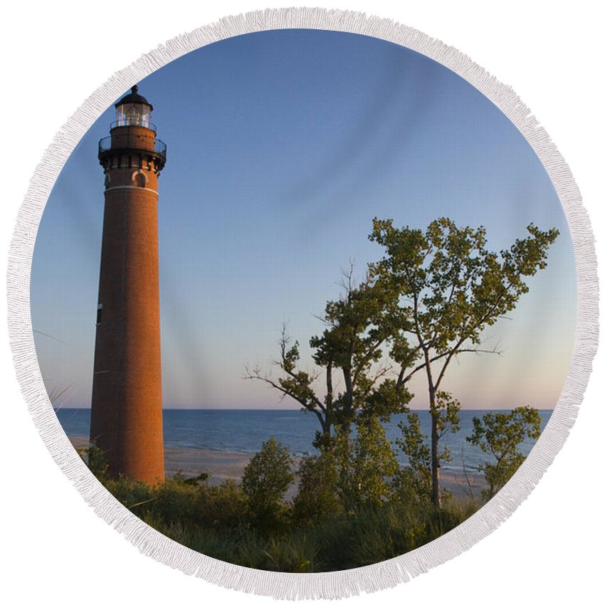 Art Round Beach Towel featuring the photograph Little Sable Lighthouse By The Shore by Randall Nyhof