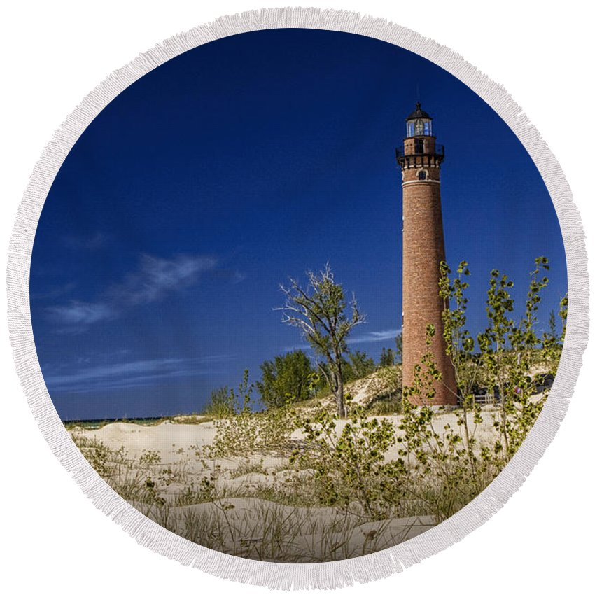 Art Round Beach Towel featuring the photograph Little Sable Point Light No.0285 by Randall Nyhof