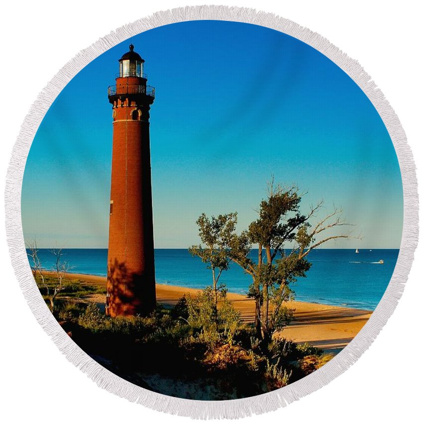 Sable Round Beach Towel featuring the photograph Little Sable Point by Nick Zelinsky