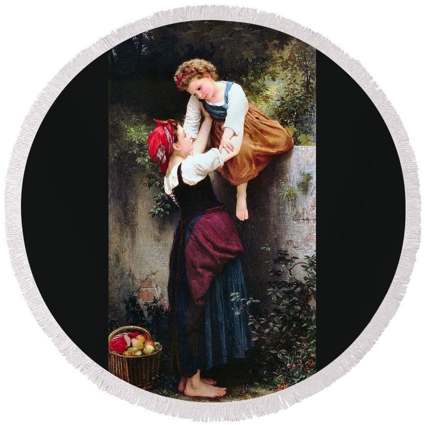 Little Thieves Round Beach Towel featuring the digital art Little Thieves by William Bouguereau