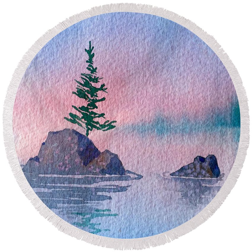 Little Trees Round Beach Towel featuring the painting Little Trees by Teresa Ascone