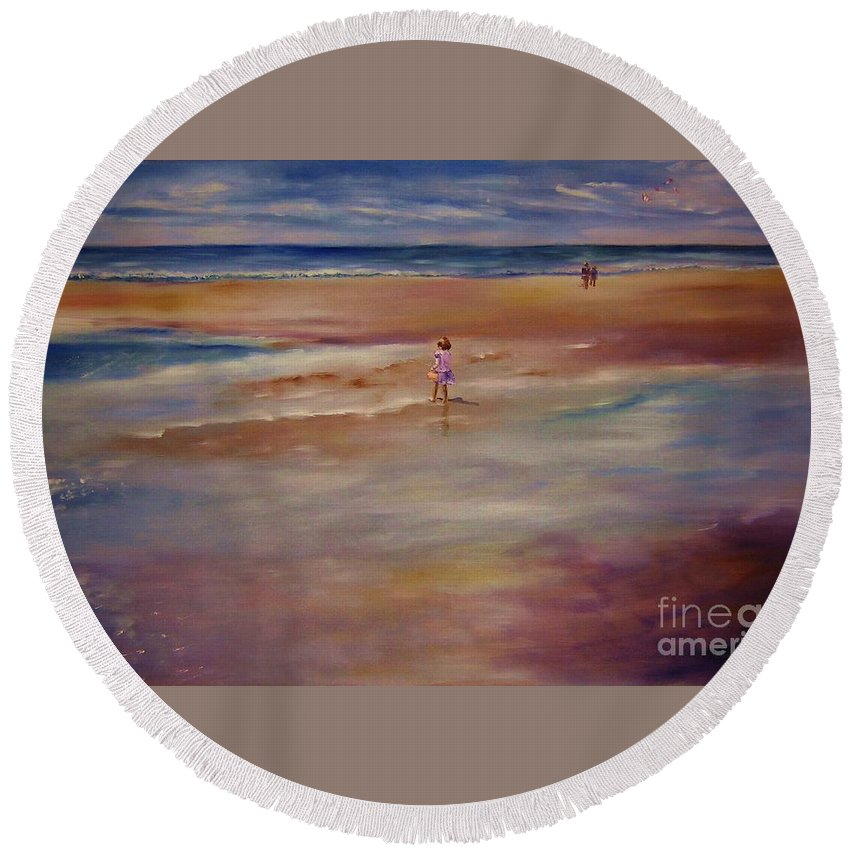 Child Round Beach Towel featuring the painting Little Wanderer by Sandy Ryan