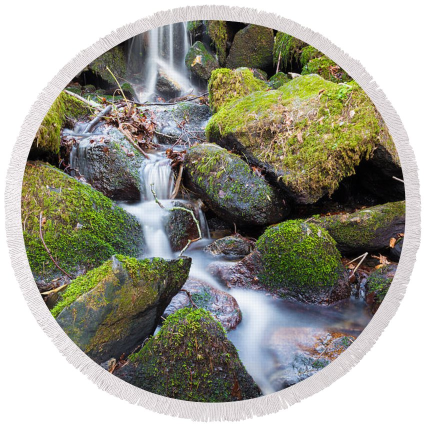 Dublin Round Beach Towel featuring the photograph Little Waterfall In Marlay Park by Semmick Photo