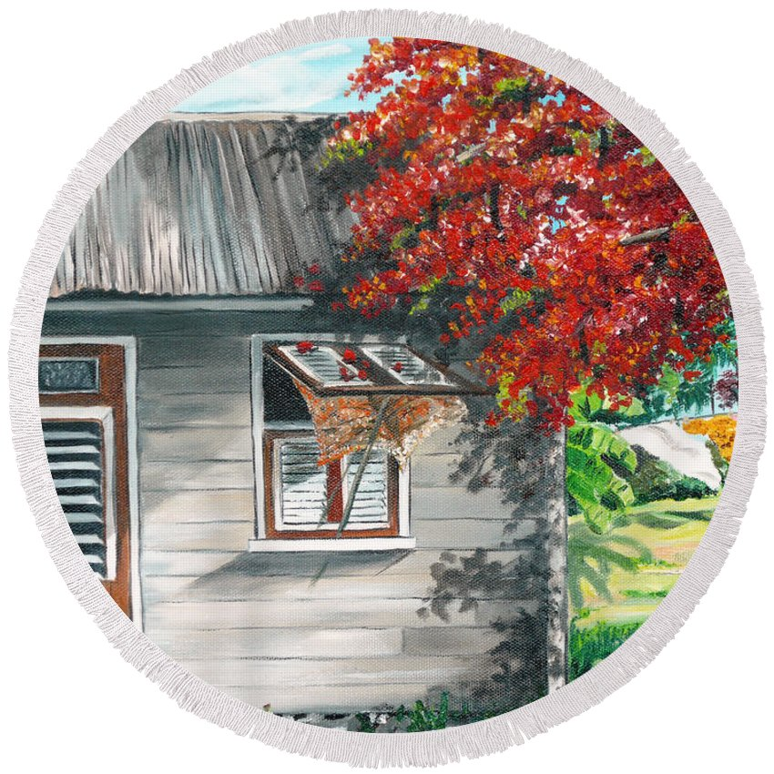 Caribbean Painting Typical Country House In The Caribbean Or West Indian Islands With Flamboyant Tree Tropical Painting Round Beach Towel featuring the painting Little West Indian House 1 by Karin Dawn Kelshall- Best