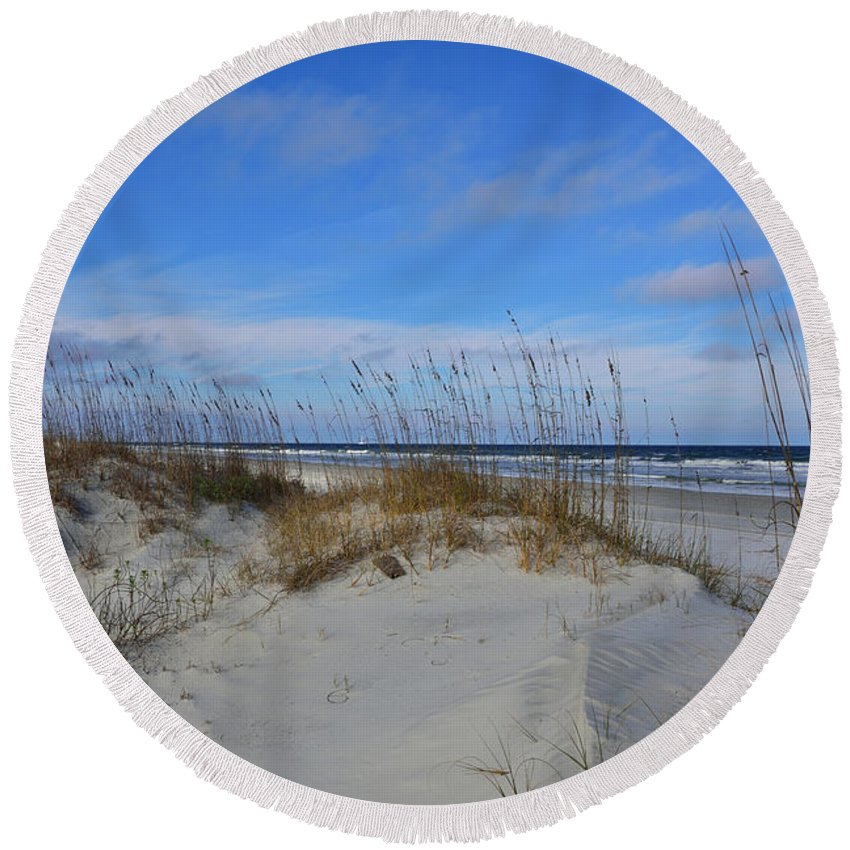 Sand Dunes Pouch Round Beach Towel featuring the photograph Little Talbot Sand Dunes by Spencer Studios