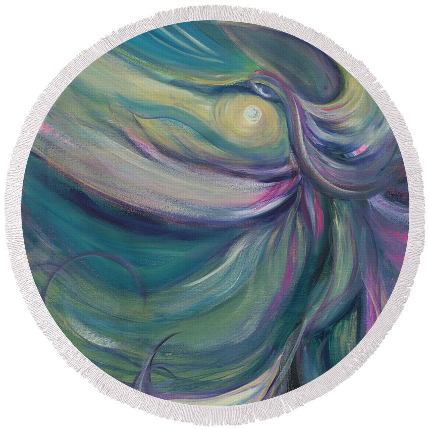 Dance Round Beach Towel featuring the painting Liturgical Dance by Nadine Rippelmeyer