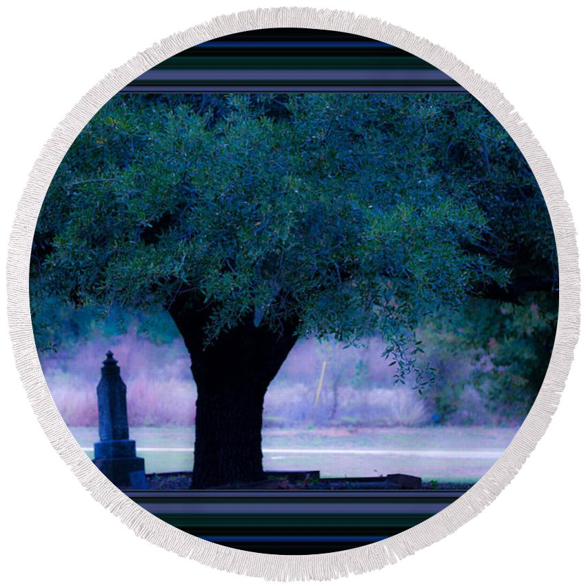 Cemetery Round Beach Towel featuring the photograph Live Oak Tree In Cemetery by Marie Jamieson