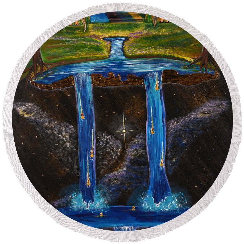 Art-by-cassie Sears Round Beach Towel featuring the painting Living Water by Cassie Sears