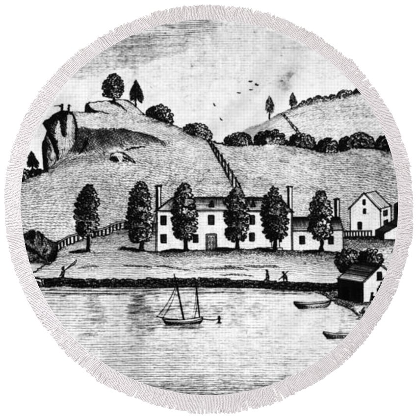 1796 Round Beach Towel featuring the painting Livingston Estate, 1796 by Granger