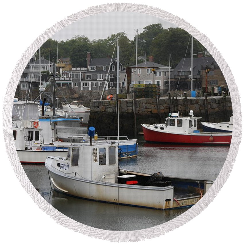 Harbor Round Beach Towel featuring the photograph Lobster Fleet Rockport Harbor by Christiane Schulze Art And Photography