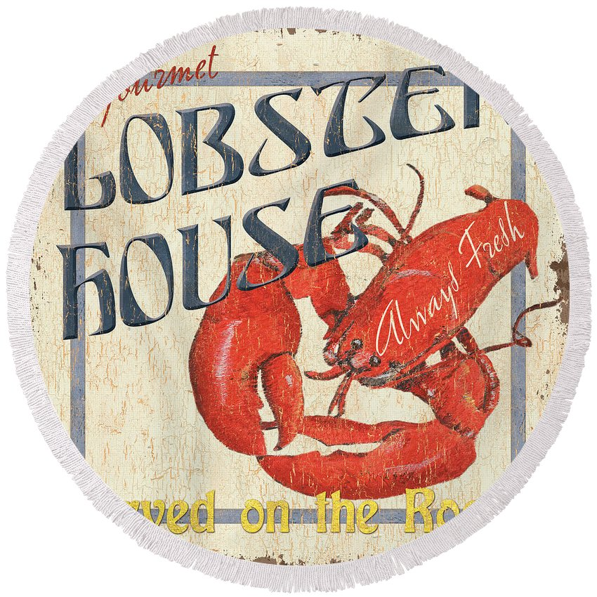Lobster Round Beach Towel featuring the painting Lobster House by Debbie DeWitt