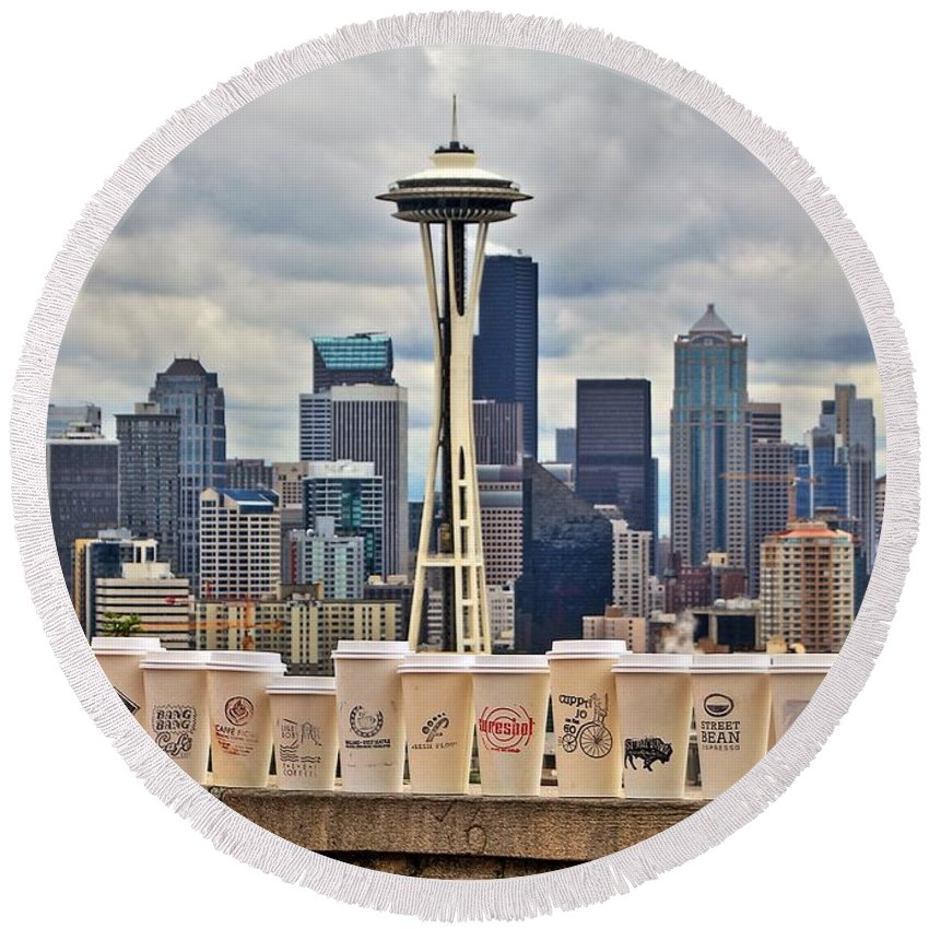 Seattle Round Beach Towel featuring the photograph Local Joes by Benjamin Yeager