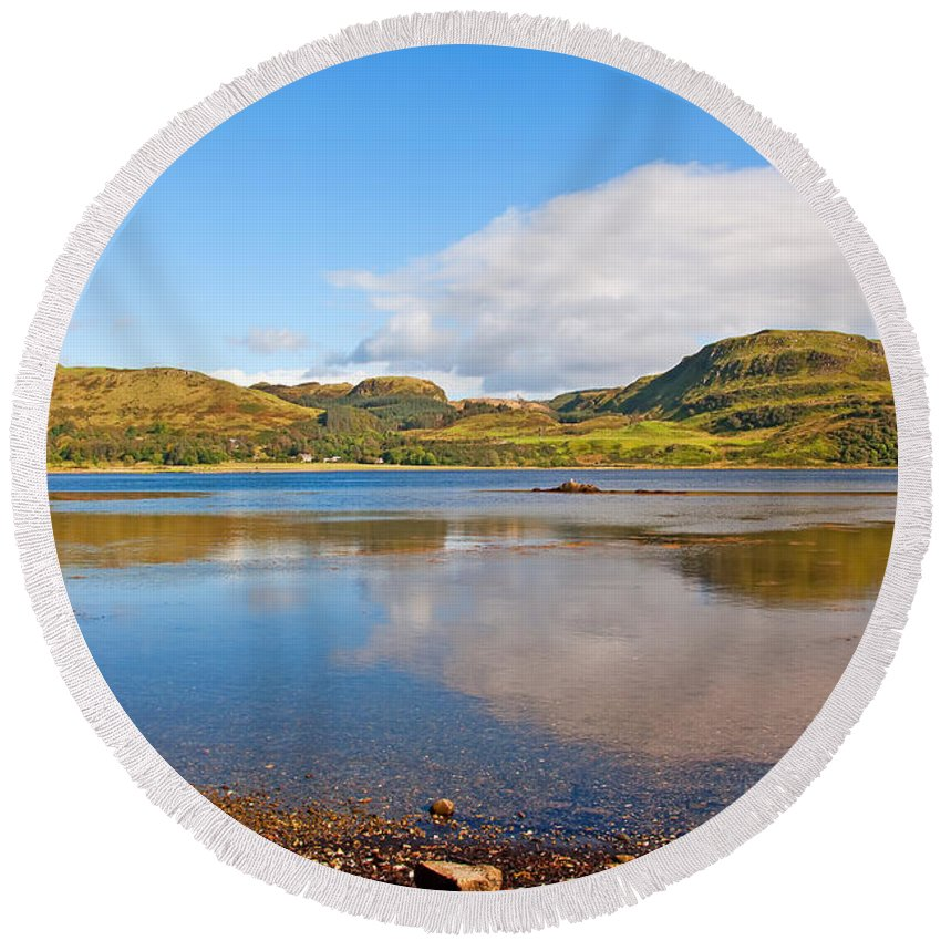 Loch Craignish Reflections Round Beach Towel featuring the photograph Loch Craignish Argyll Scotland by Chris Thaxter