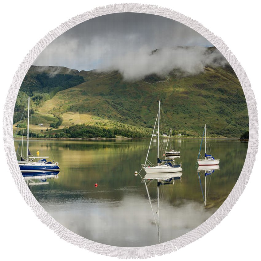 Boat Round Beach Towel featuring the photograph Loch Leven Sailboats by David Head