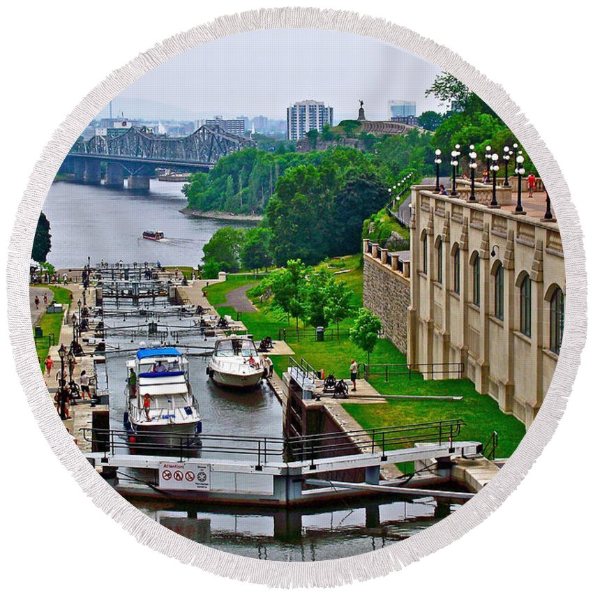 Locks On Rideau Canal East Of Parliament Building In Ottawa Round Beach Towel featuring the photograph Locks On Rideau Canal East Of Parliament Building In Ottawa-on by Ruth Hager
