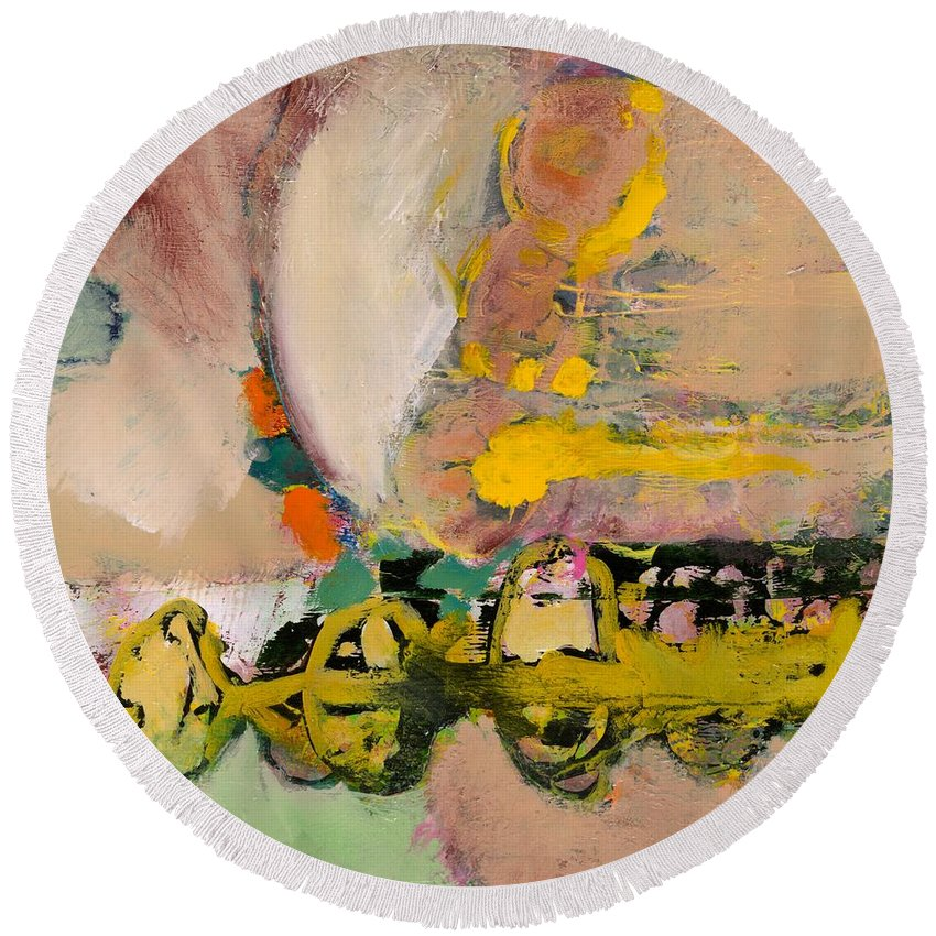 Landscape Round Beach Towel featuring the painting Locomotion by Allan P Friedlander