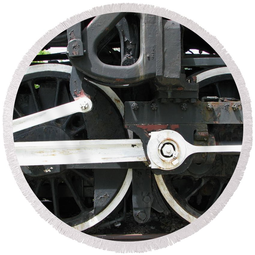 Train Round Beach Towel featuring the photograph Locomotive Wheels by Michael Krek