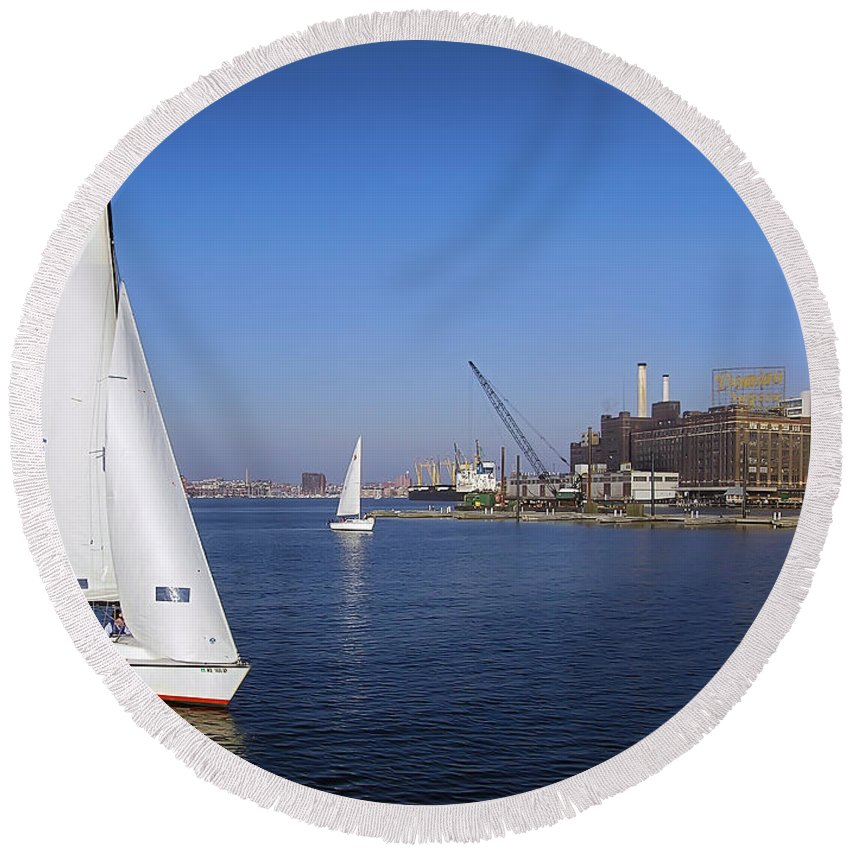 2d Round Beach Towel featuring the photograph Locust Pt Sailing by Brian Wallace