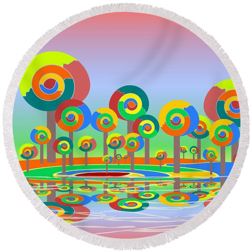 Malakhova Round Beach Towel featuring the digital art Lollypop Island by Anastasiya Malakhova