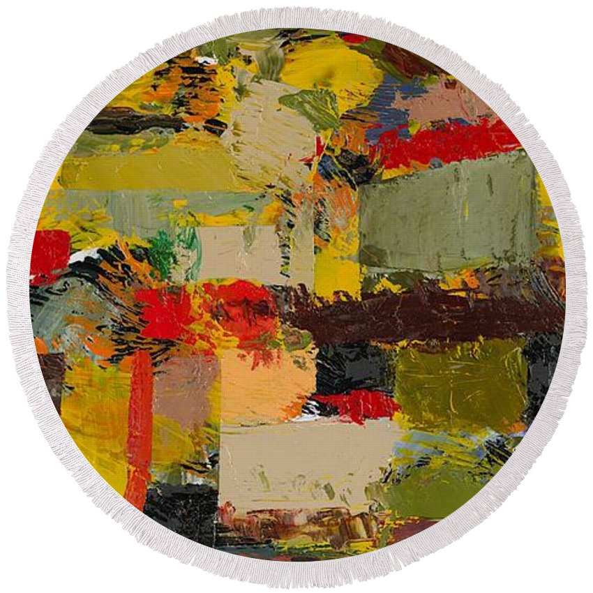 Landscape Round Beach Towel featuring the painting Lombard At Fillmore by Allan P Friedlander