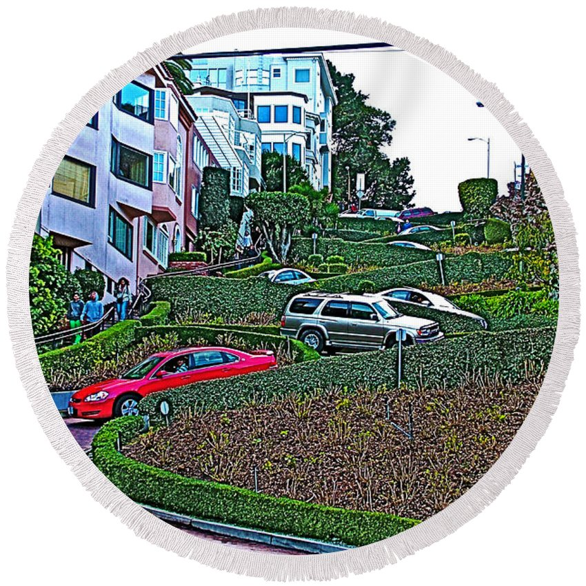 Lombard Street In San Francisco Round Beach Towel featuring the photograph Lombard Street In San Francisco-california by Ruth Hager