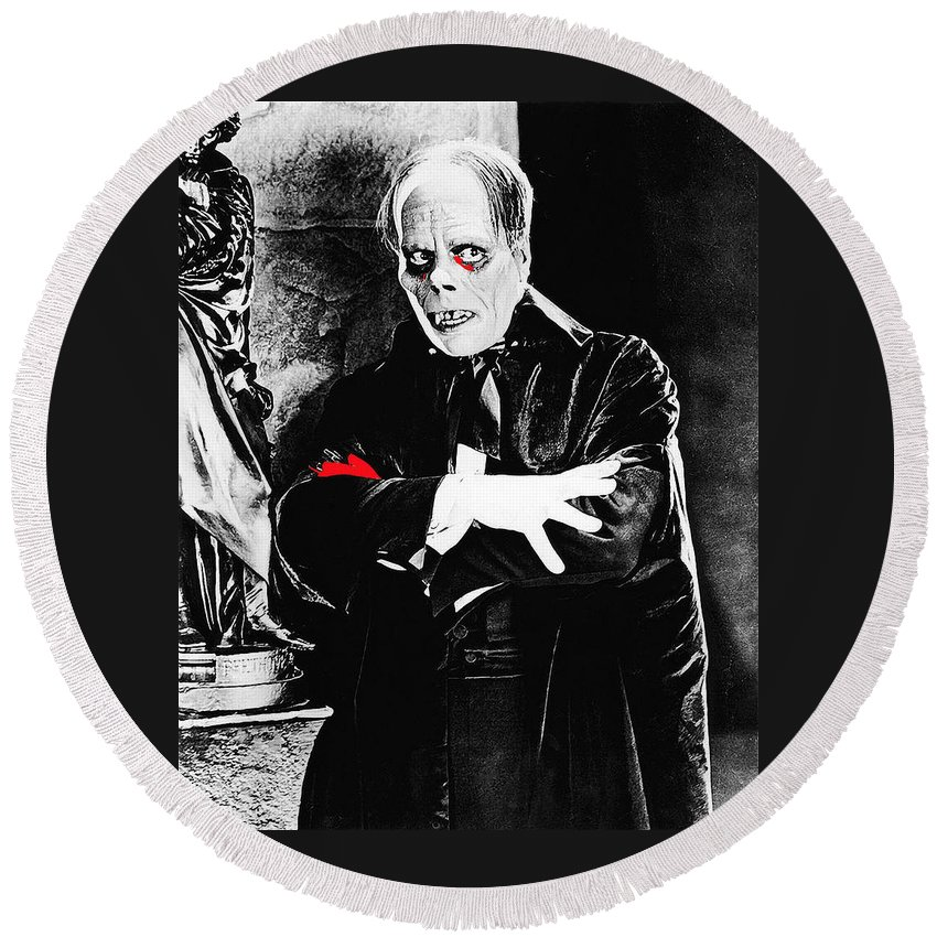 Lon Chaney Phantom Of The Opera 1 Publicity Photo 1925 Round Beach Towel featuring the photograph Lon Chaney Phantom Of The Opera 1 Publicity Photo 1925-2011 by David Lee Guss