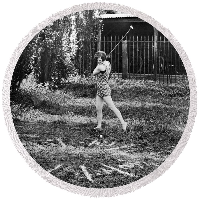 16-20 Years Round Beach Towel featuring the photograph London Bathers Play Clock Golf by Underwood Archives