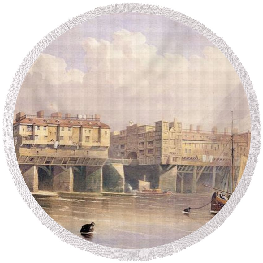 London Bridge Round Beach Towel featuring the drawing London Bridge, 1835 by George Pyne