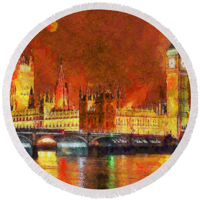Rossidis Round Beach Towel featuring the painting London By Night by George Rossidis