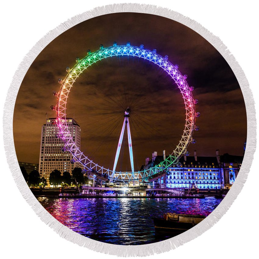 London Eye Round Beach Towel featuring the photograph London Eye Pride by Matt Malloy