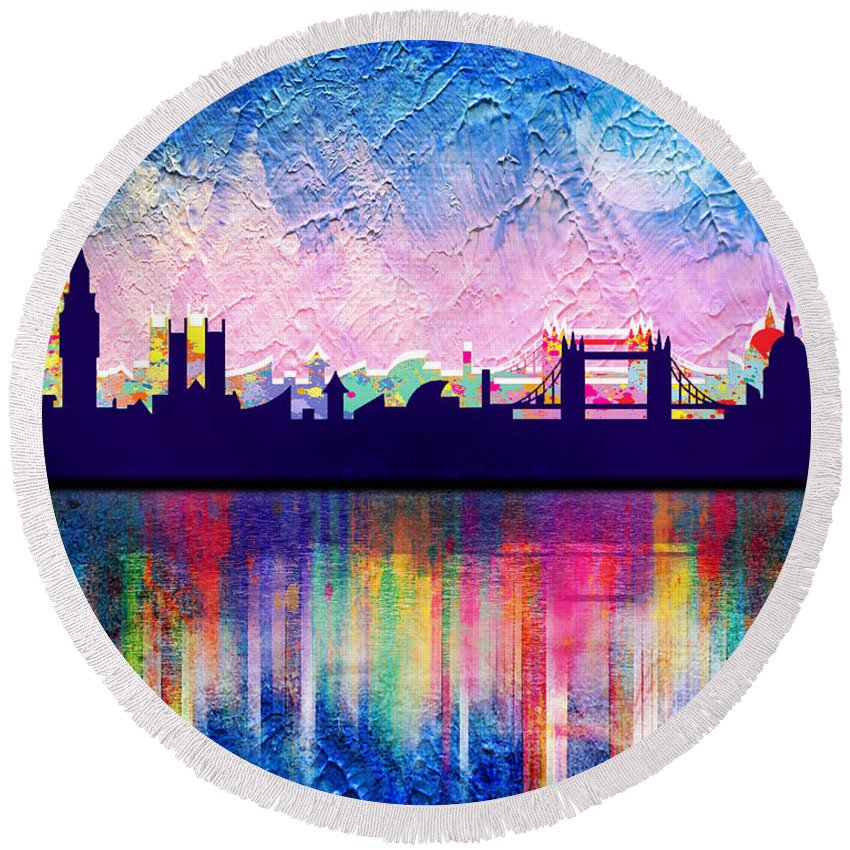 Cityscape Round Beach Towel featuring the painting London In Blue by Mark Ashkenazi