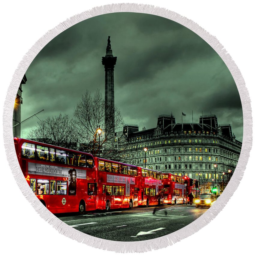 London Red Bus Round Beach Towel featuring the photograph London Red Buses And Routemaster by Jasna Buncic