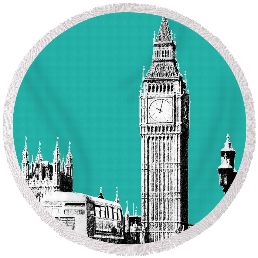 Architecture Round Beach Towel featuring the digital art London Skyline Big Ben - Teal by DB Artist