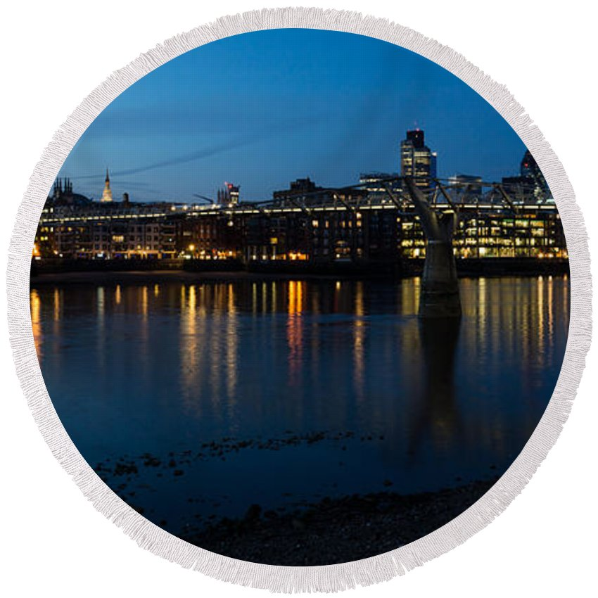 Skyline Round Beach Towel featuring the photograph London Skyline Reflecting In The Thames River At Night by Georgia Mizuleva