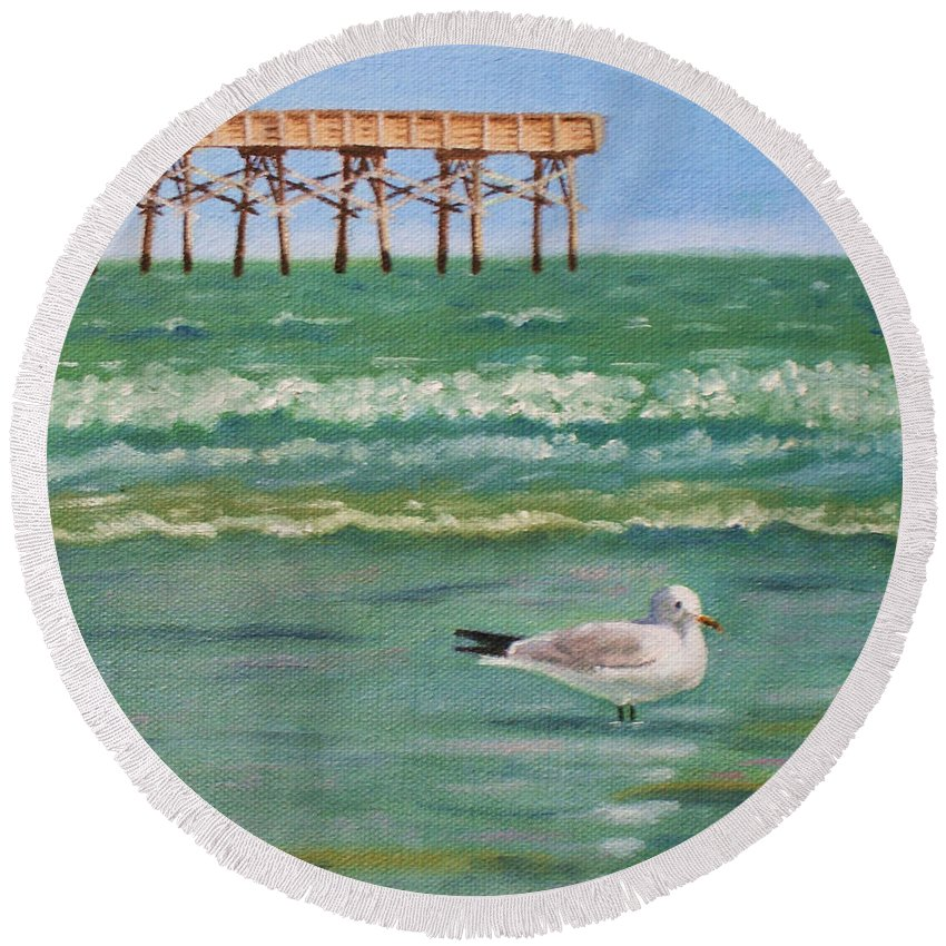 Coastal Round Beach Towel featuring the painting Lone Gull A-piers by Jill Ciccone Pike