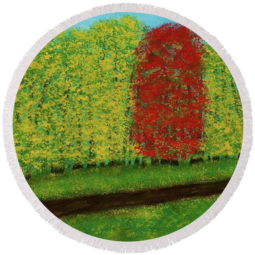 Landscape Round Beach Towel featuring the painting Lone Maple Among The Ashes by Hillary Binder-Klein