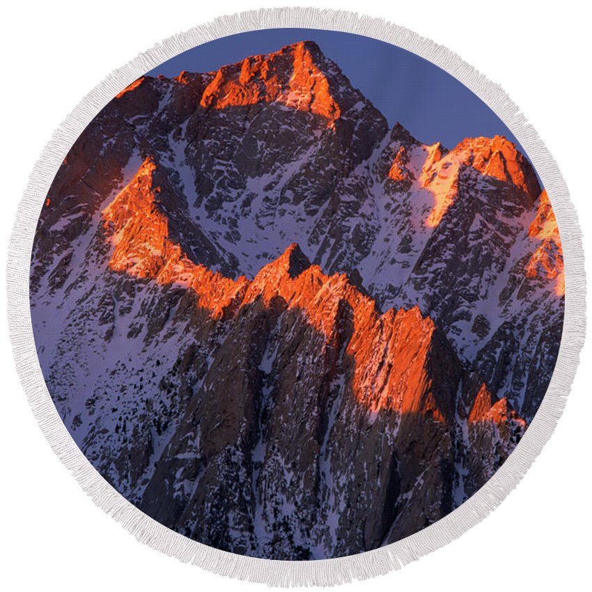 Alabama Hills Round Beach Towel featuring the photograph Lone Pine Peak - February by Inge Johnsson
