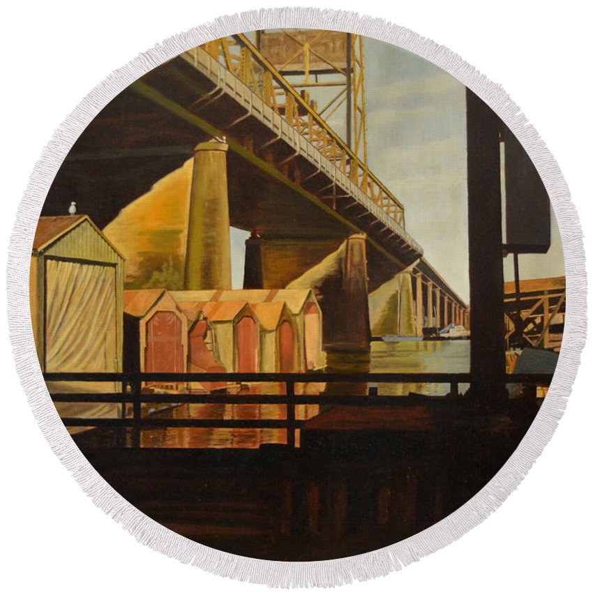 Bridge Round Beach Towel featuring the painting Lone Seagull by Thu Nguyen