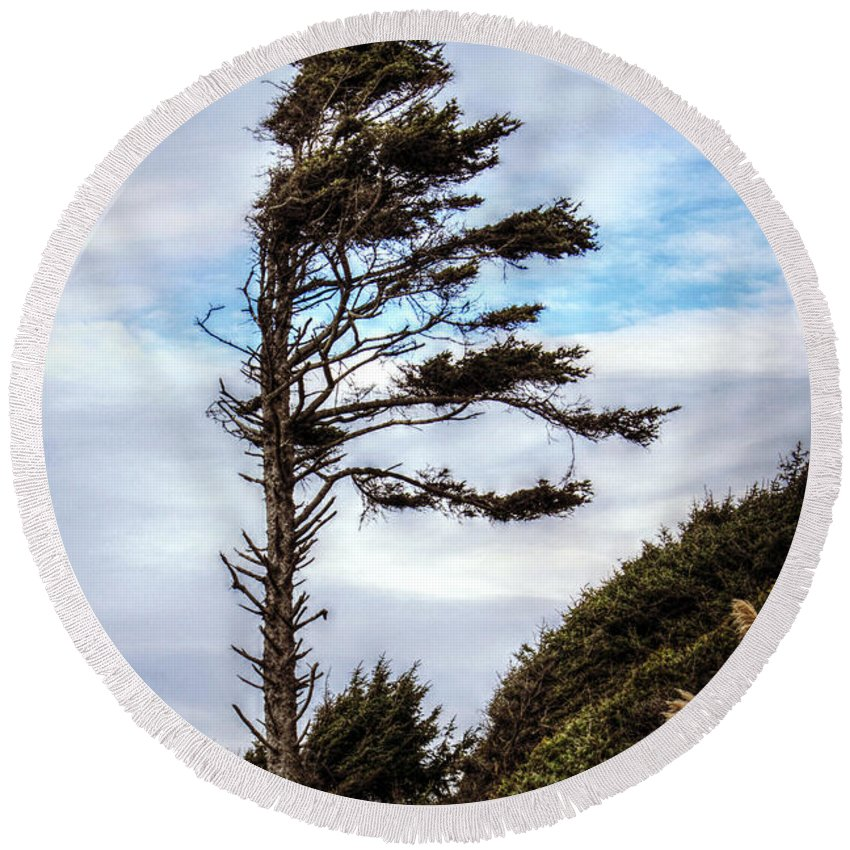 Tree Round Beach Towel featuring the photograph Lone Tree by Melanie Lankford Photography