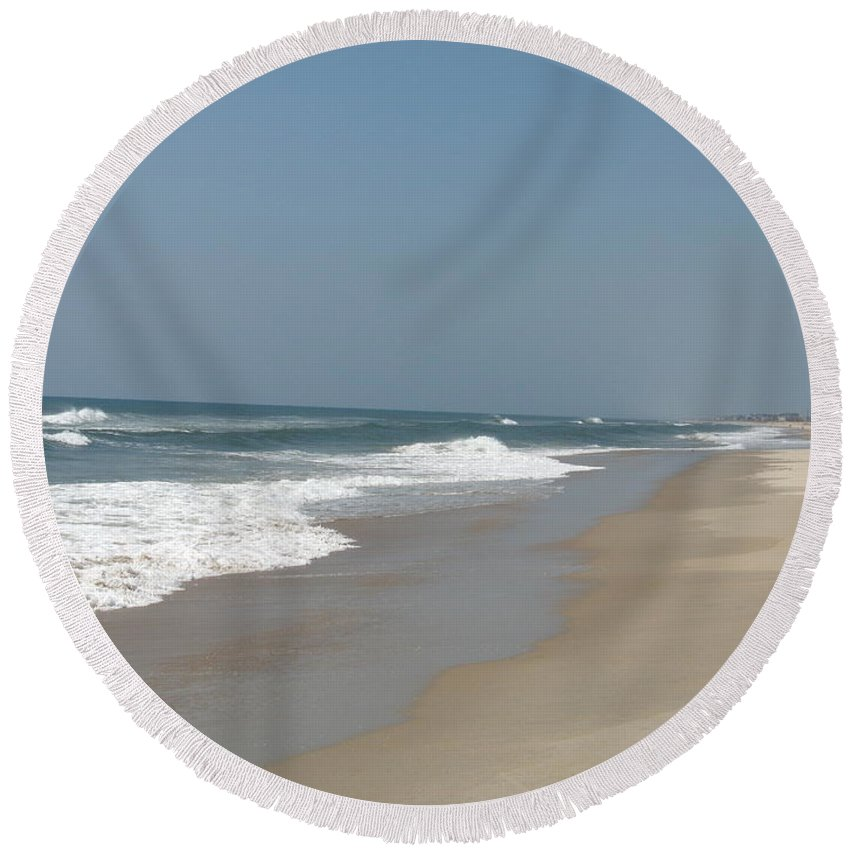 Beach Round Beach Towel featuring the photograph Lonely Beach On Cape Hatteras by Christiane Schulze Art And Photography
