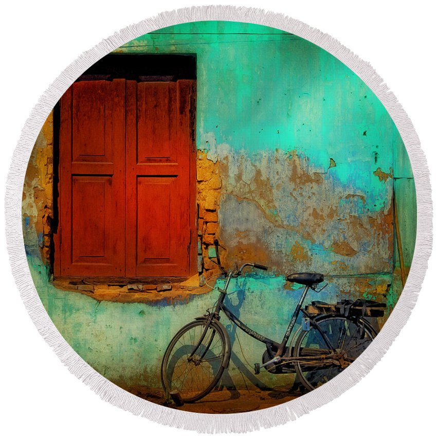 Myanmar Round Beach Towel featuring the photograph Lonely Bicycle by Claude LeTien