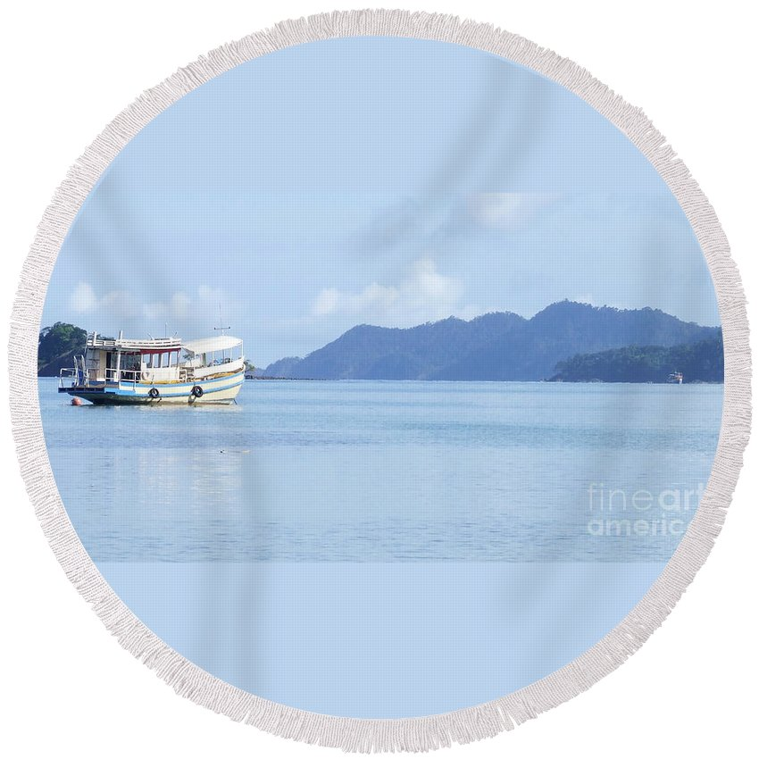 Boat Round Beach Towel featuring the photograph Lonely Boat by Andrea Anderegg