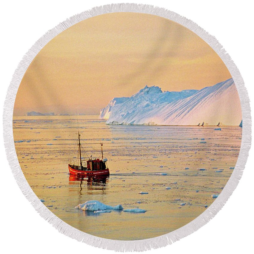 Greenland Round Beach Towel featuring the photograph Lonely Boat - Greenland by Juergen Weiss