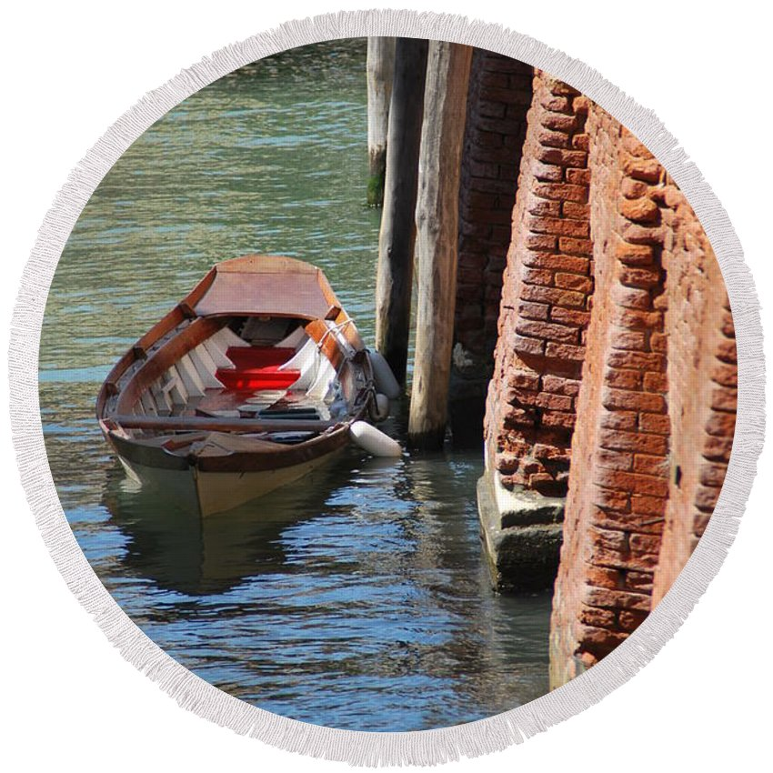 Venice Round Beach Towel featuring the photograph Lonely Boat In Venice by Richard Booth