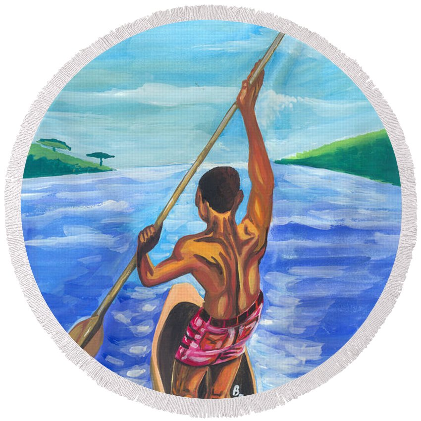 Landscapes Round Beach Towel featuring the painting Lonely Boatman In Rwanda by Emmanuel Baliyanga