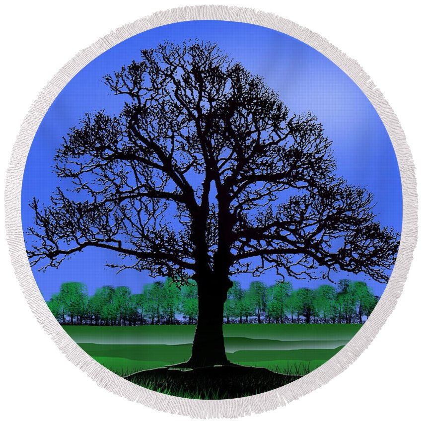 Tree Round Beach Towel featuring the digital art Lonely Old Tree by Peter Stevenson