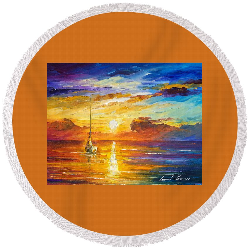 Oil Paintings Round Beach Towel featuring the painting Lonely Sea 2 - Palette Knife Oil Painting On Canvas By Leonid Afremov by Leonid Afremov